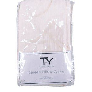 NWT TY Hotel Collection 4 Queen Pillow Cases Beige